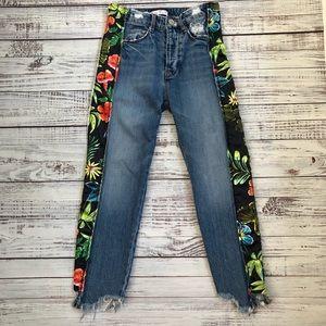 Zara Trafaluc Floral Distressed Jeans sz 00